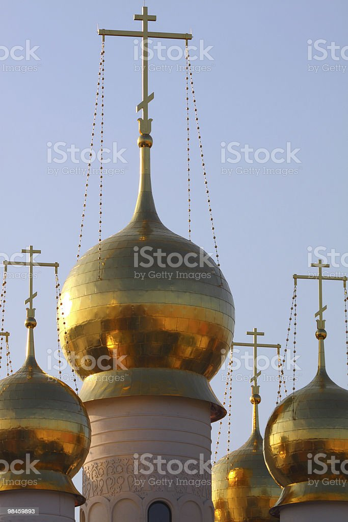 Gold domes with a cross royalty-free stock photo