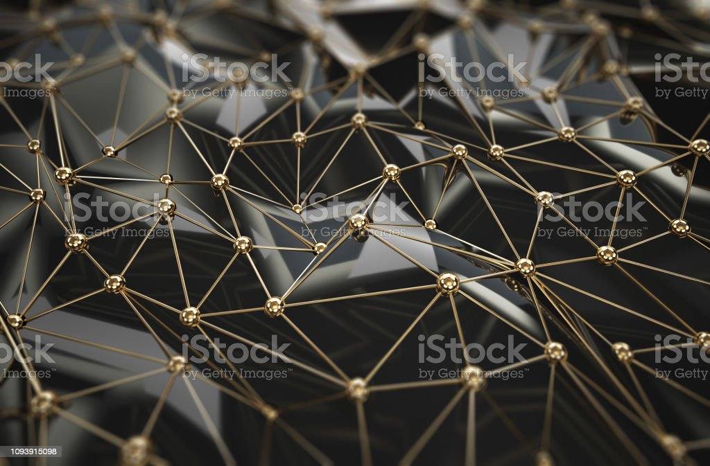 Gold dots and lines connection, abstract technology background. Network concept stock photo