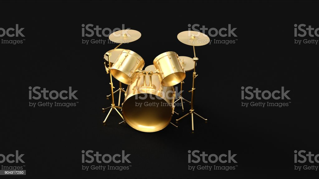 Gold Drum Kit stock photo