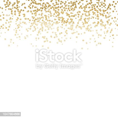 Gold dust falling down, behing the white background art