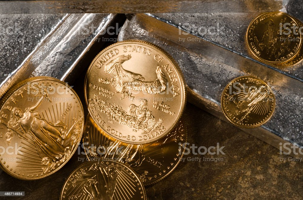 US Gold Eagles on Silver Bars stock photo