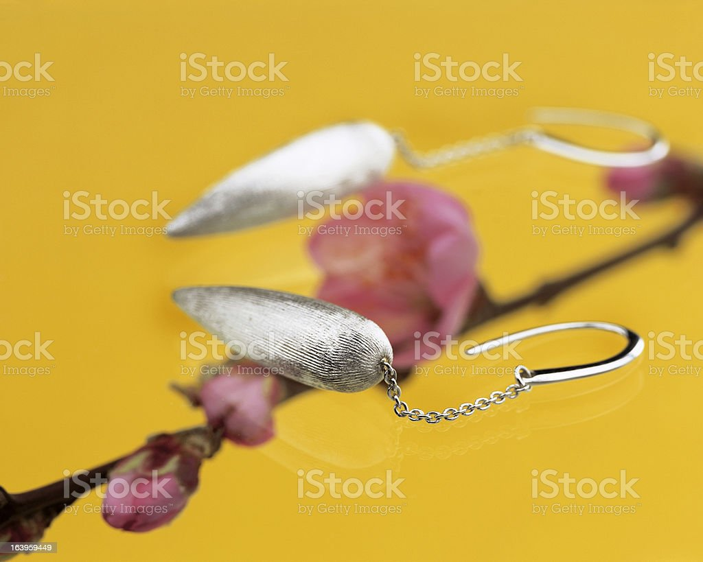 gold earrings royalty-free stock photo