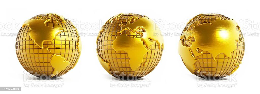 Gold earth models stock photo