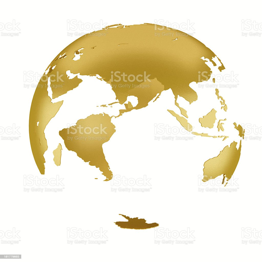 3D gold Earth Structure styled stock photo