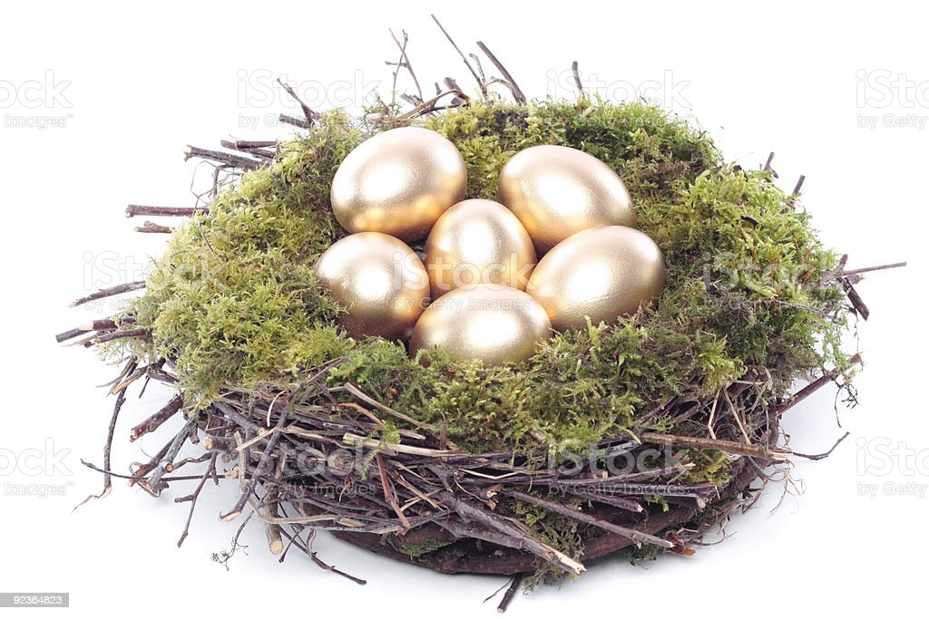 Gold easter eggs in bird nest royalty-free stock photo