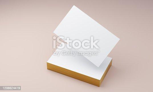 istock Gold edges business card mockup 3d illustration 1206624419