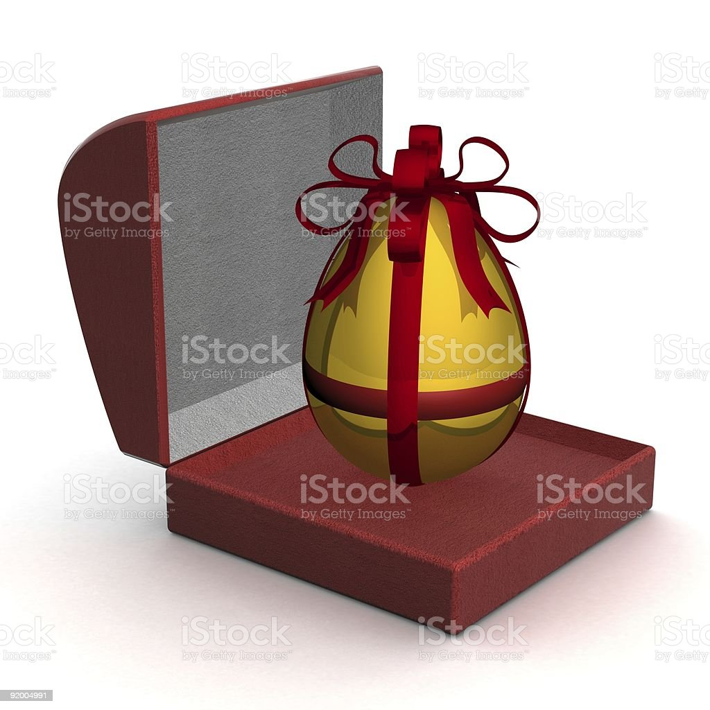 Gold egg in gift packing. 3D image. royalty-free stock photo