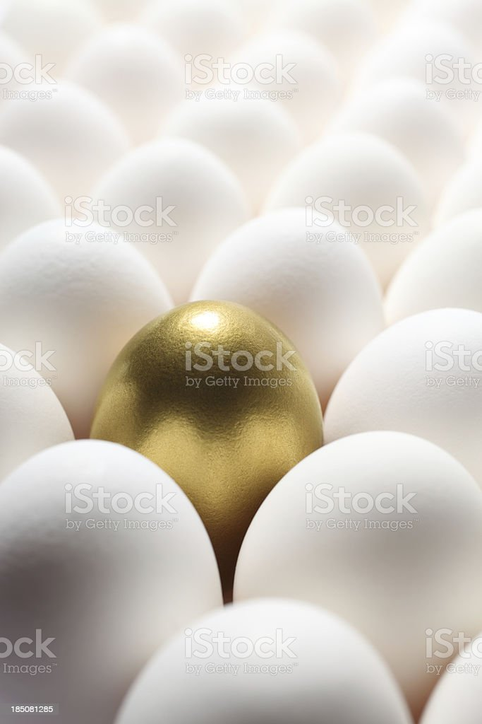 Gold Egg in the Middle of Many Regular Eggs stock photo