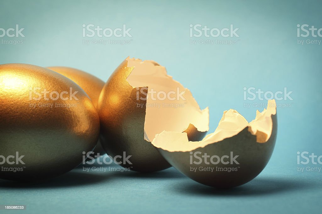 Gold Eggs and Shell stock photo