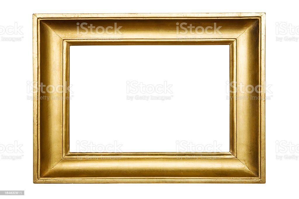 Gold empty picture frame on white background stock photo