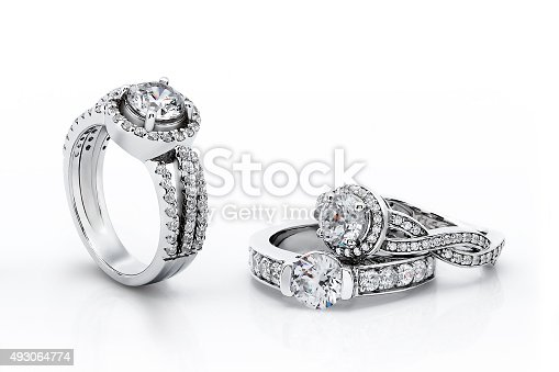 istock Gold Engagement Diamond Rings 493064774