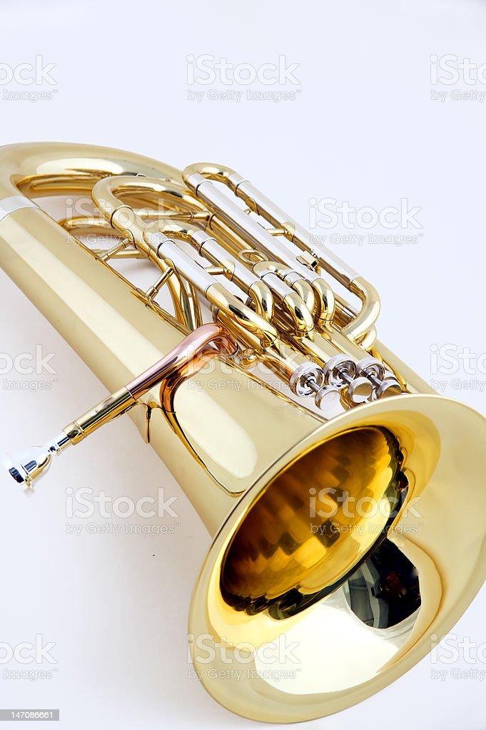 Gold Euphonium White Background royalty-free stock photo