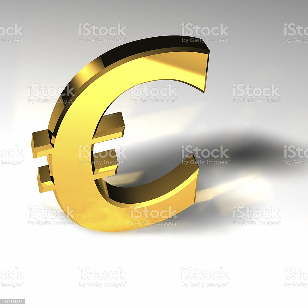 Gold Euro symbol (vertical) royalty-free stock photo
