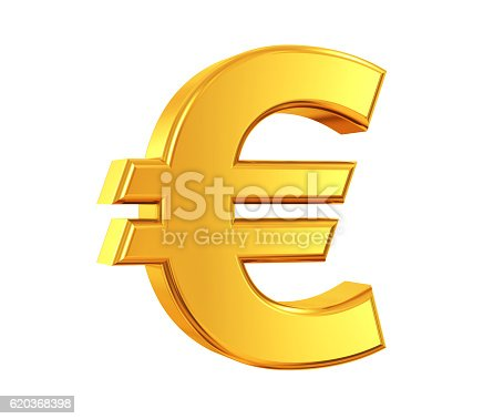 3D rendering of Euro Symbol made of gold with reflection isolated on white background.