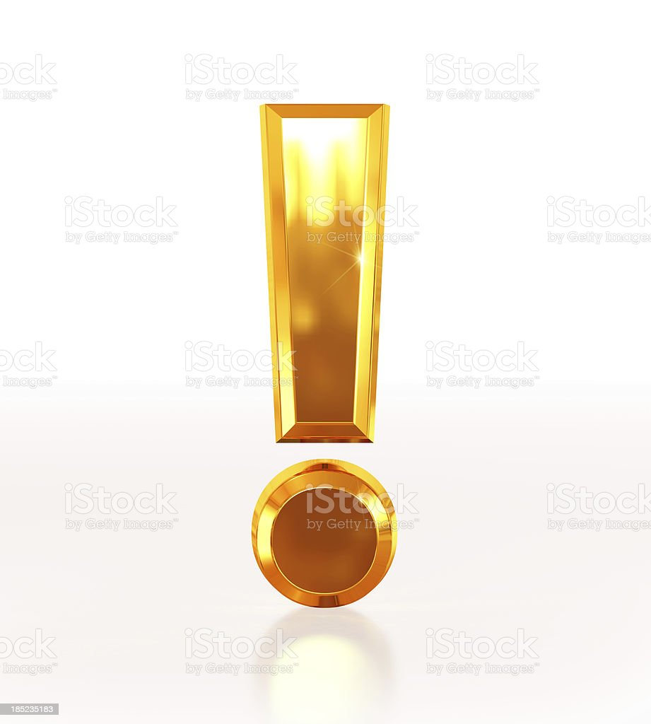 Gold Exclamation Mark stock photo