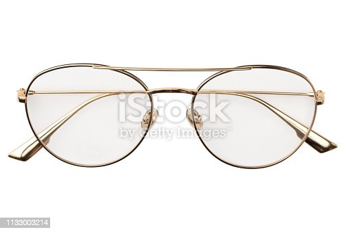 1047544590 istock photo Gold eye glasses metal in round frame transparent for reading or good vision, top view isolated on white background. Glasses mockup 1133003214