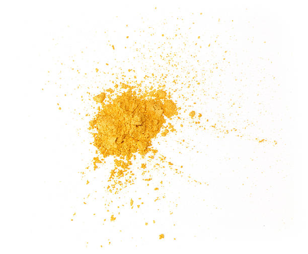 Gold eyeshadow powder isolated on white background Pile of gold eyeshadow on a white background. XXL file face powder stock pictures, royalty-free photos & images