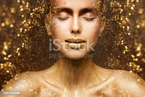 Gold Fashion Makeup, Art Beauty Face and Lips Make Up in Golden Sparkles, Woman Dreams Concept
