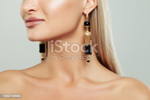Gold Female Earrings with Pearl, Closeup Portrait