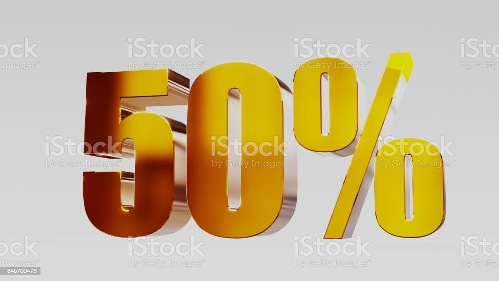gold fifty percent 50% 3d illustration stock photo