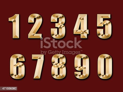 istock gold figures, isolated on a red  background 471556382