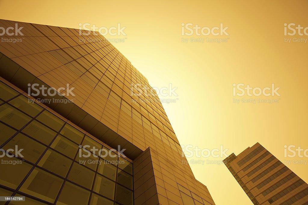 Gold Financial Building Skyscraper Architecture stock photo