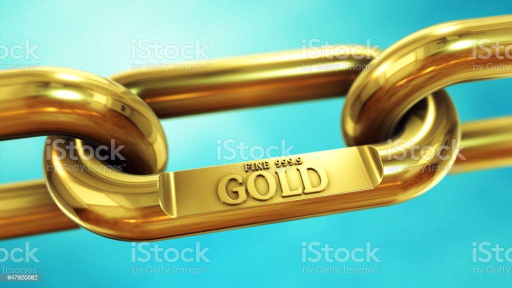 Gold fine chain close up stock photo