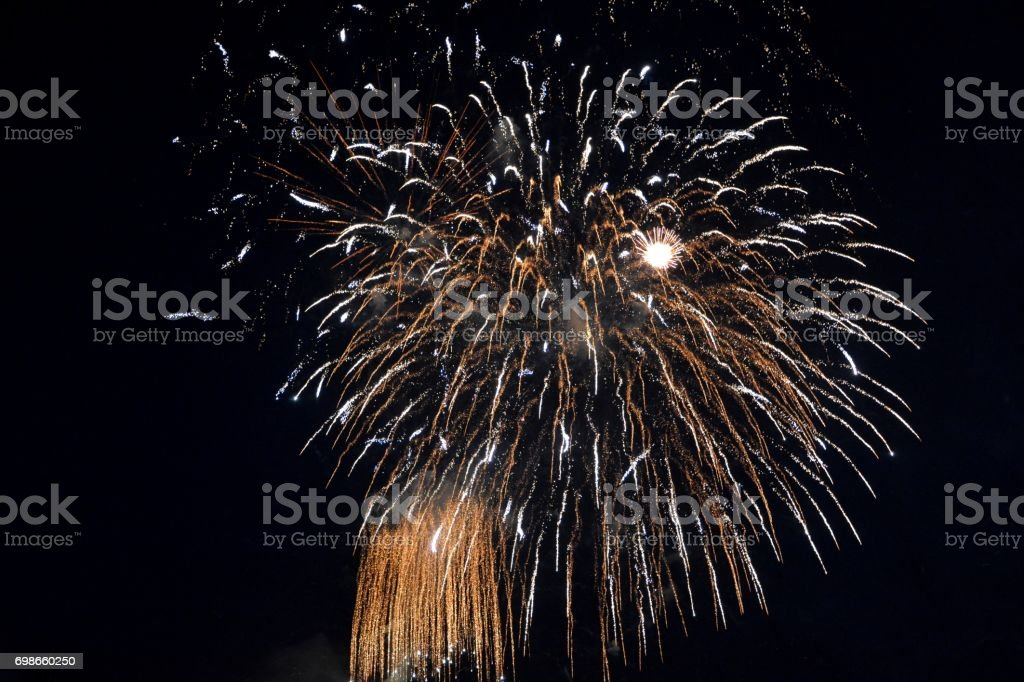 A gold Fireworks at night stock photo