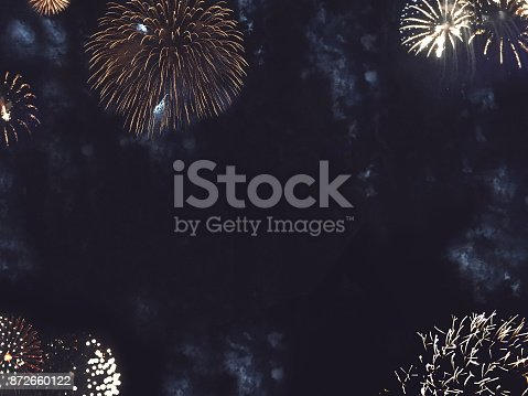 977840698 istock photo Gold Fireworks Border in Night Sky 872660122
