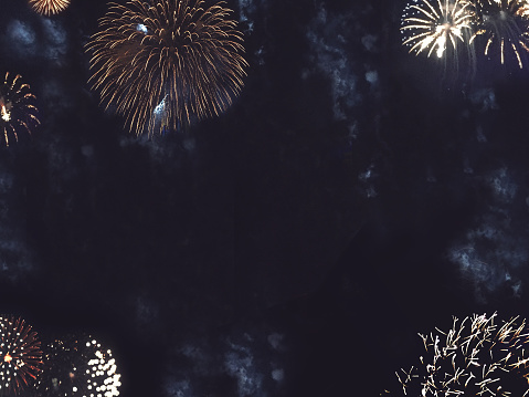 Gold Fireworks Border In Night Sky Stock Photo - Download Image Now