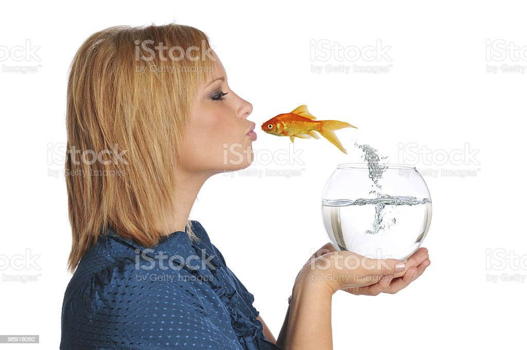 Gold Fish Jumping and Kissing girl royalty-free stock photo
