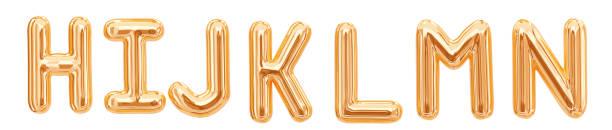 gold foil alphabet, h, i, j, k, l, m, n isolated - alfabeto foto e immagini stock