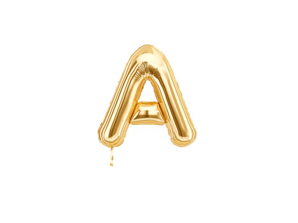 Gold foil alphabet, Letter A isolated - foto stock