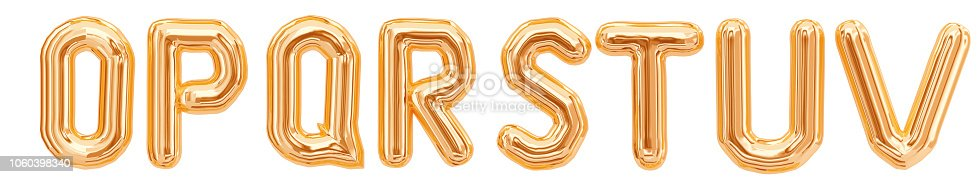istock Gold foil alphabet, letters O, P, Q, R, S, T, U, V isolated on white background 1060398340