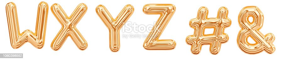 istock Gold foil alphabet, letters W, X, Y, Z, ampersand, hashtag 1060398552