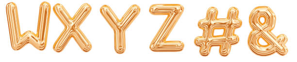 gold foil alphabet, letters w, x, y, z, ampersand, hashtag - ampersand stock pictures, royalty-free photos & images