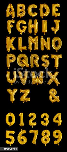 Gold Foil Balloons Alphabet on a black background
