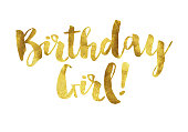Gold foil birthday girl message