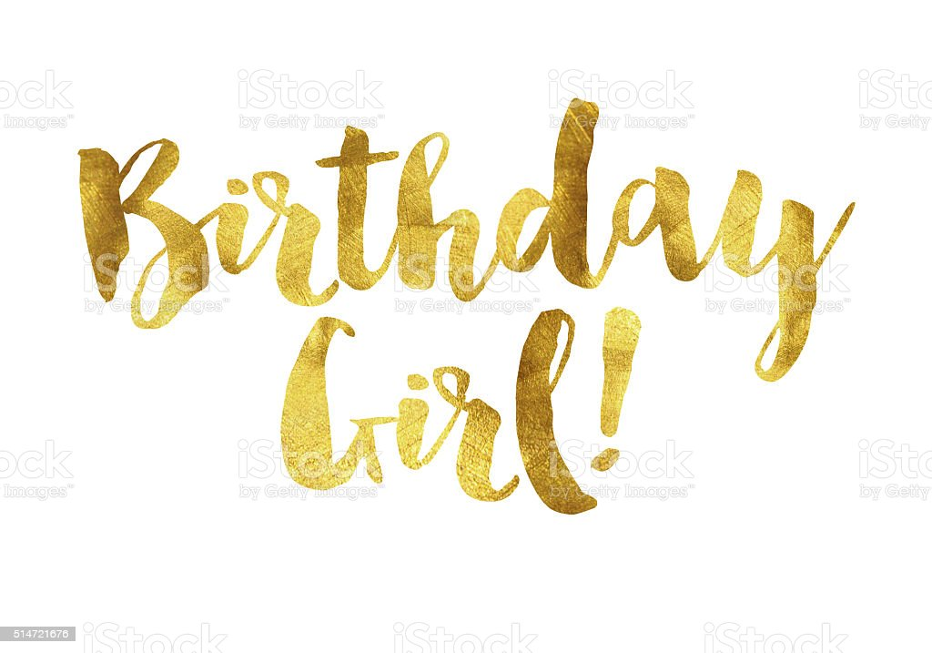 Gold foil birthday girl message stock photo