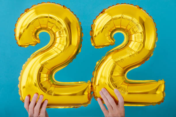 Gold foil number 22 twenty two celebration balloon stock photo