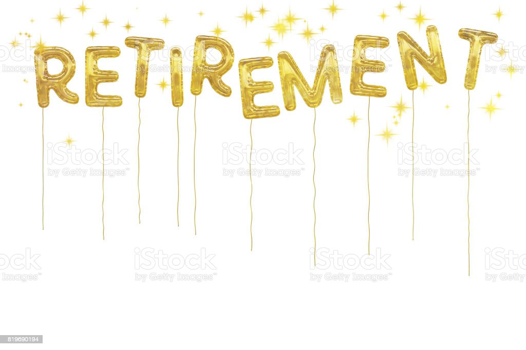 Gold foil retirement party style balloons. White background. stock photo