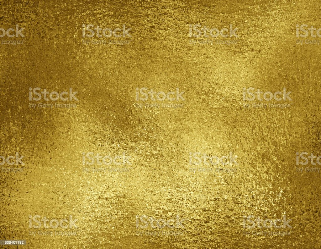 Gold foil texture background. Grunge golden metallic material concept, luxury packaging paper leaf. stock photo