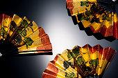 Gold folding fan of new year background image