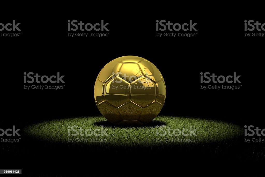 Ouro futebol com bola de futebol em destaque - foto de acervo