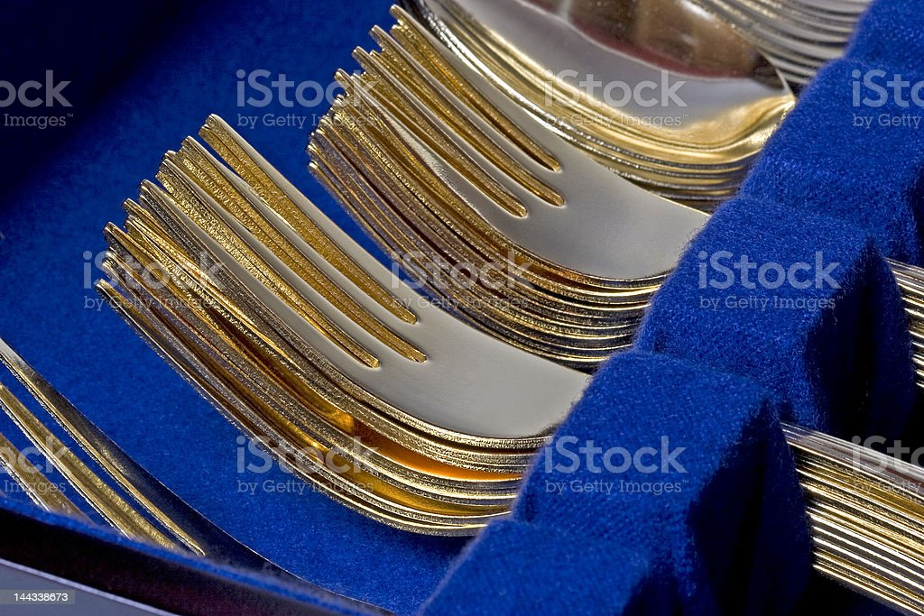 Gold Forks Stacked royalty-free stock photo