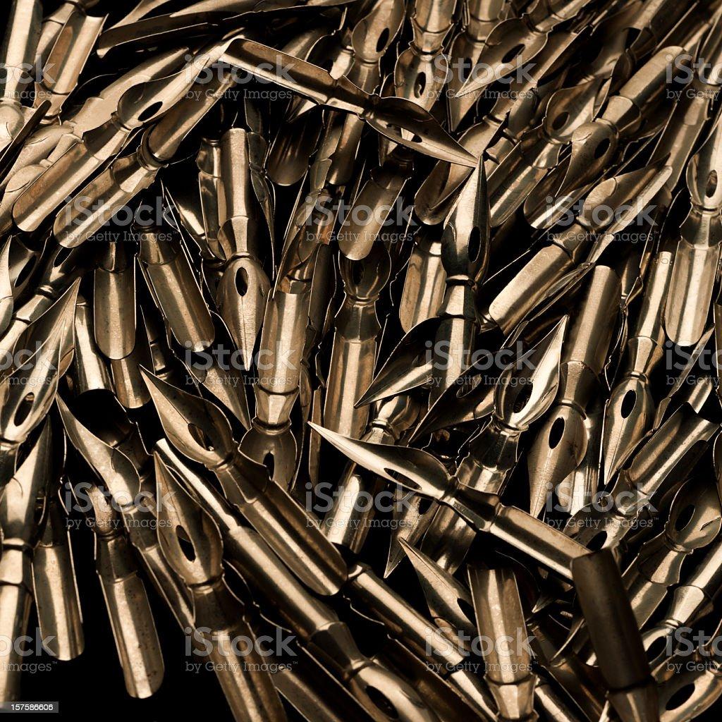 Gold fountain pen nibs stock photo