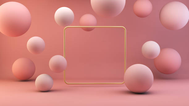 gold frame with floating spheres stock photo