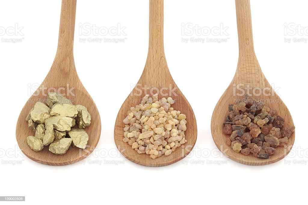 Gold Frankincense and Myrrh stock photo
