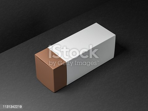 istock Gold Gift Box packaging Mockup with white case 1131342219