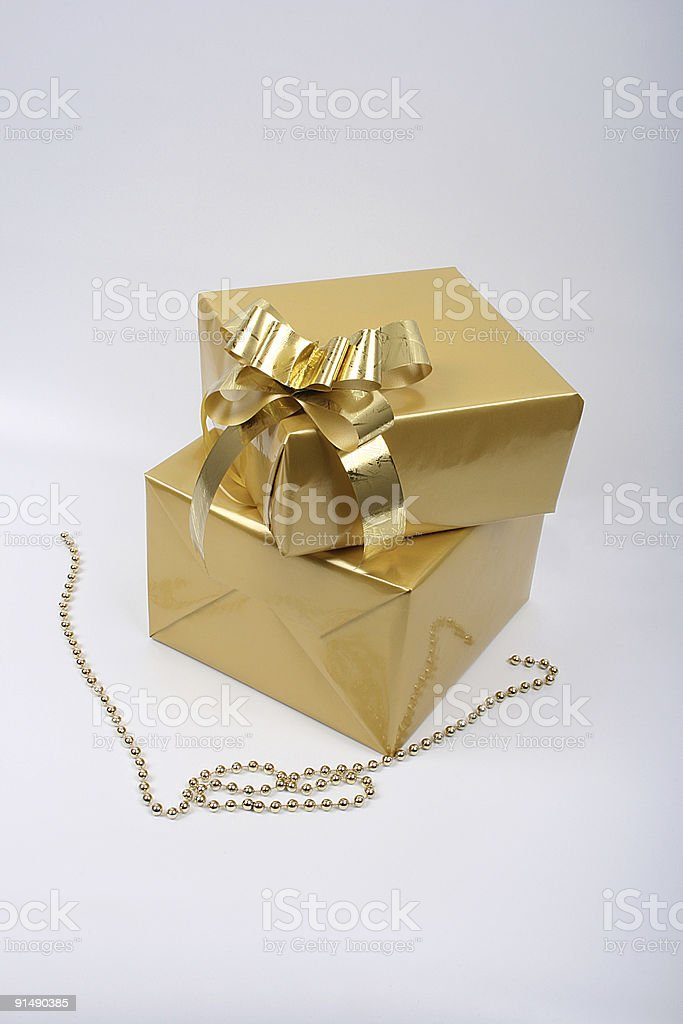 Gold Gift Box royalty-free stock photo